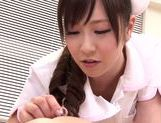 Asian nurse with curly hair Arisa Nakano makes cock massage picture 18