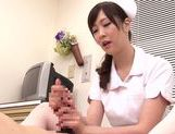 Asian nurse with curly hair Arisa Nakano makes cock massage picture 65
