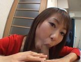 Luscious Japanese Av girl Haruka Mitsuki performs pov Asian blowjob picture 12