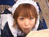 Attractive little maid Hitomi Hayasaka gets an Asian pov facial