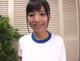 Fancy sporty girl Hitomi Miyano gives a foot job and sucks rod