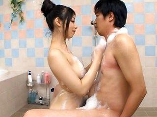 Amazing Japanese girl enjoying cock sucking