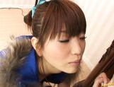 Flapper Dressed Aoi Amamiya Uses Pink Tongue to Get Hand Cream