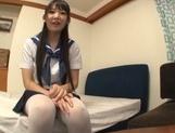 Lustful Asian schoolgirl Kurumi Tanigawa spreads legs for toy insertion picture 11