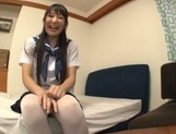 Lustful Asian schoolgirl Kurumi Tanigawa spreads legs for toy insertion