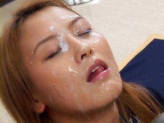 Japanese babe in hot bukkake