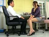 Aoi Miyama blowing her boos while at work