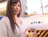 Frisky Japanese AV model is a milf deepthroating hot guy picture 12