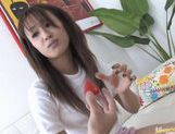 Ami Matsuda sucks a dildo and a real cock and takes cum in mouth. picture 11