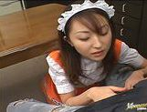 Maid Takes A Break To Suck Her Boss And Eat His Cum picture 12