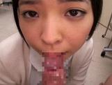 Petite amateur babe Mashiro Ayase deepthroats cock on pov video picture 45