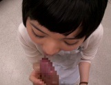Petite amateur babe Mashiro Ayase deepthroats cock on pov video picture 8
