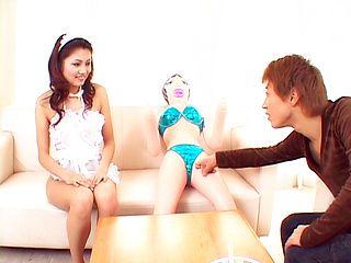 Maid Aki Anzai sucks a big dick dry