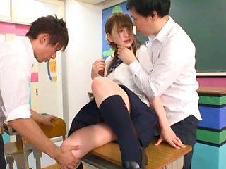 Super hot Japanese teen Arimura Nozomi fucks with classmates