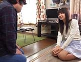 Amateur teen seduced in sucking her old man's stiff dick