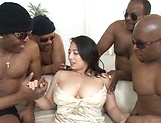 Busty Asian milf gets fucked hard in gangbang picture 14