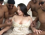 Busty Asian milf gets fucked hard in gangbang picture 15