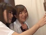 Horny schoolgirl Saitou Miyu in kinky threesome scene picture 11
