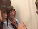 Horny schoolgirl Saitou Miyu in kinky threesome scene picture 12