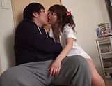 Lusty milf Hayakawa Mizuki stroking a big cock picture 28