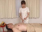 Hot Japanese lady showcases cock sucking skills