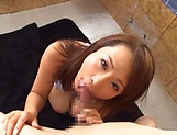 Hot ass Asian babe in bikini Konishi Yuu gives a hot blowjob