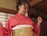 Hot barbie Saki Hatsumi enjoying some hand work picture 13