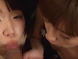 Dashing POV blowjob scenes with two gorgeous teens picture 12
