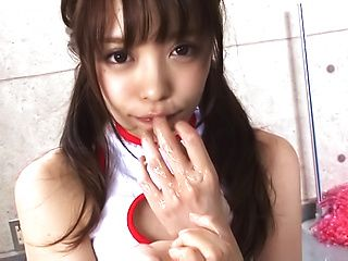Hot cheerleader with pigtails gives a steamy blowjob