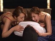 Yumi Kazama and Azumi Chino sharing cock in threesome