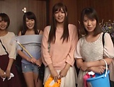 Spicy housekeepers in lusty gang bang after work