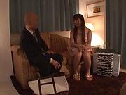Japanese teen in stockings is aroused