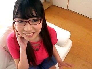 Innocent looking girl with glasses Amano Miyuu sucks a cock in pov