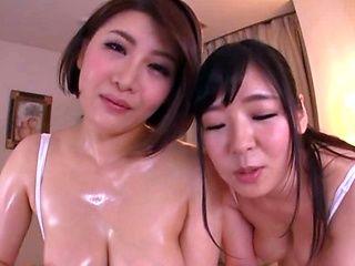 Busty milfs sharing cock in sensational Asian POV