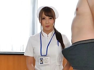 Oversexed Japanese nurse sucks a cock and masturbates her twat