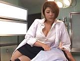 Cock addicted Japanese nurse Hamasaki Mao fucks in a mff