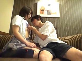 Japanese schoolgirl enjoys sex on cam gets pussy creampied