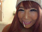 Adorable darling Hazuki Mion takes a nice dildo penetration picture 15