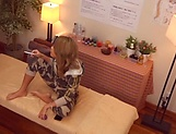 Blonde woman enjoys hard dick during massage session