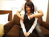 Big tits AV model from Japan enjoys titfucking and doggy-style bang