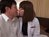 Wild Asian nurse with a shaved pussy gets titfucked passionately picture 12