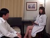 Wild Asian nurse with a shaved pussy gets titfucked passionately