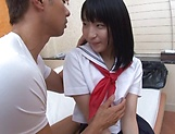 Tiny tits babe Aya Akimaya gets her shaved muff pounded picture 7