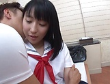 Tiny tits babe Aya Akimaya gets her shaved muff pounded picture 8