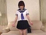 Sweet girl with a shaved pussy Sakura Kizuna enjoys toying