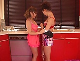 Raunchy lesbians babes having fun on the bed till they squirt picture 12