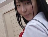 Sexy schoolgirl Aya Akiyama worthwhile strip tease picture 11