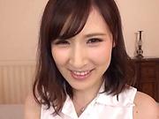 Voluptuous Japanese milf Kaise Anju swallows a big load of cum