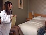 Buxom Japanese nurse in black stockings fucks without limits