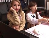 Fujikawa Reina and Natsuki Marina kinky lesbian fun indoors